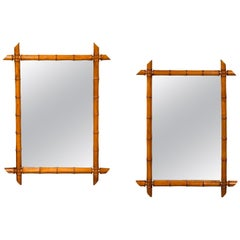 Pair of French 1900s Faux Bamboo Rectangular Mirrors with Protruding Corners