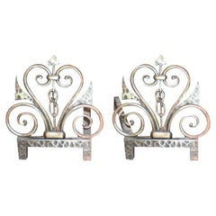Pair of French Art Deco Fireplace Chenets by Michel Zadounaïsky