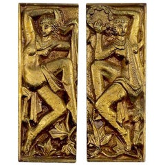 Pair of 1930s French Bronze Door Handles Decorated with Dancing Nymphs