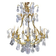 Pair of French Louis XVI Baguès Style Rock Crystal and Bronze Chandeliers