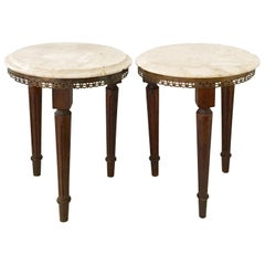 Pair of French Louis XVI Style Guerdion Mahogany & Marble-Top Tables-Signed