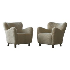 Pair of Fritz Hansen Model 1669 Lounge Chairs in Sheepskin Shearling, 1940s