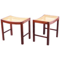 Pair of Fritz Hansen Stools with Curved Cane Seats, 1950s