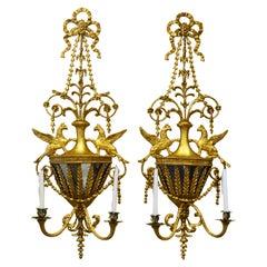 Pair of George III Giltwood Mirrored Urn Wall Sconces, Manner of Robert Adam