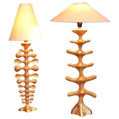 Pair of Gilt Bronze Lamps by Pierre Casenove for Fondica