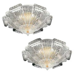 Pair of Graceful Italian Murano Glass Leave Flush Mount or Ceiling Lights