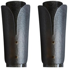 Pair of Grey Textured Murano Glass Wall Sconces