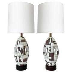 Pair of Guido Gambone Ceramic Table Lamps, Signed