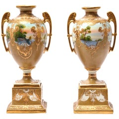 Pair of Hand Painted Vases with Winged Handles, Signed