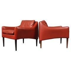 Pair of Hans Olsen Danish Leather Club Armchairs