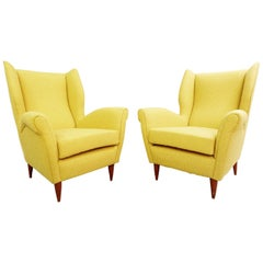 Pair of High Back Armchairs by Gio Ponti, 1950s, New Curry Yellow Upholstery