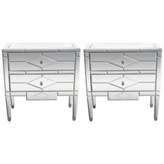 Pair of Hollywood Regency Tessellated Mosaic Mirrored Nightstands/End Tables