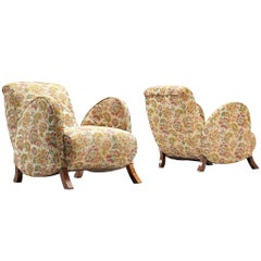 Pair of Italian Curved Armchairs in Floral Upholstery, 1950s