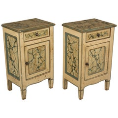 Pair of Italian Faux Marble Painted Nightstands