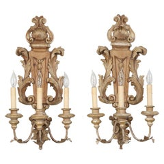 Pair of Italian Hand Carved Wooden Sconces with Gold and Silver Leaf Accents