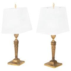 Pair of Italian Neoclassical Bronze Table Lamps