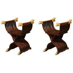 Pair of Italian Walnut Curule Folding Chairs
