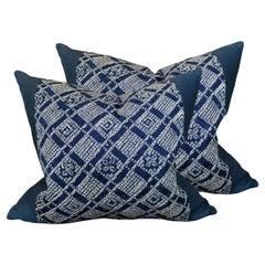 Pair of Japanese Shibori Indigo Pillows