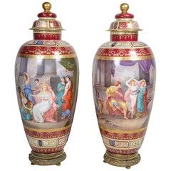 Pair of Large 19th Century Vienna Vases