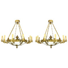 Pair of Large and Important Antique French Empire Gilt Bronze Chandeliers