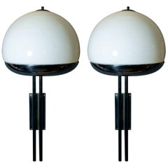 Pair of Large Sconces by Reggiani, Nickel-Plated, Opal Glass, Italy, 1970s