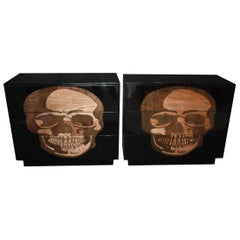 """Pair of Large Sculptural """"Skull"""" Design Commodes"""