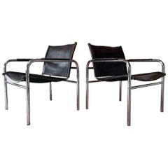 Pair of Leather and Tubular Steel Armchairs by Tord Bjorklund, Sweden, 1980s