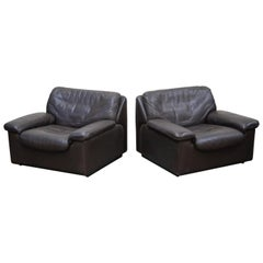 Pair of Leather Lounge Armchairs by De Sede, Switzerland, 1960s, Signed