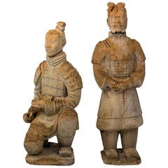 Pair of Limestone Japanese Warrior Statues