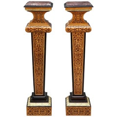 Pair of Louis XIV-Style Wood Marquetry Columns