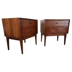 Pair of MCM Walnut Double Drawer Nightstands by American of Martinsville