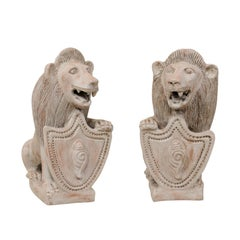 Pair of Mid-20th Century British Colonial Shielded Terracotta Lions