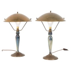 Pair of Mid-20th Century French Blue Glazed Earthenware Lamps with Metal Shades