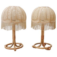 Pair of Midcentury Bamboo Table Lamp with Fringe Shade