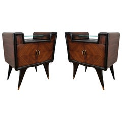 Pair of Midcentury Italian Art Deco Rosewood & Glass Nightstands Bedside Tables
