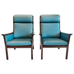 Pair of Midcentury Rosewood Highback Easy Chairs by Ole Wanscher for P.Jeppesen