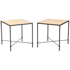 Pair of 'Mies' Handmade Leather and Iron Tables by Lance Thompson, Made to Order