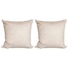 Pair of Modernist Pillows in a White Gold and Ecru Cotton Blend Fabric