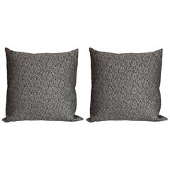 Pair of Modernist Pillows with Rectilinear Print in Charcoal and Slate Gray