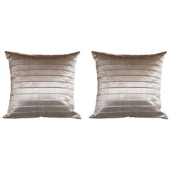 Pair of Modernist Striated Antique Silver Silk Pillows