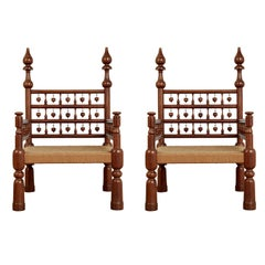 Pair of Moroccan Teak Rush Seat Throne Armchairs, circa 1960