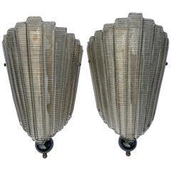 Pair of Murano Glass Midcentury Style Ventolina Wall Sconces 'US Spec'