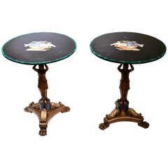 Pair of Neoclassical Side Tables with Micro Mosaic Inlaid Tops