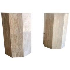 Pair of Octagon Travertine Pedestals