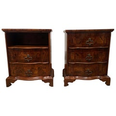 Pair of Olive Wood Inlaid Commodes Serpentine Front, Italian, circa 1880