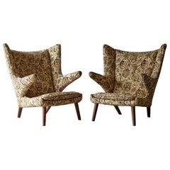 Pair of Original 1950s Hans Wegner Papa Bear Chairs, Incl. Reupholstery in COM