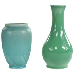 Pair of Petite Rookwood Pottery Arts & Crafts Vases 1 Sea Green and 1 Turquoise