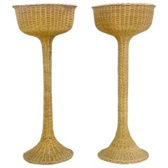 Pair of Planter Stand on Woven Wicker