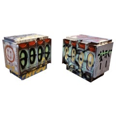 Pair of Postmodern Artist Painted Graffiti Art Nightstands