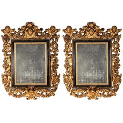 Pair of Rare Italian 17th Century Giltwood Baroque Mirrors, 1680
